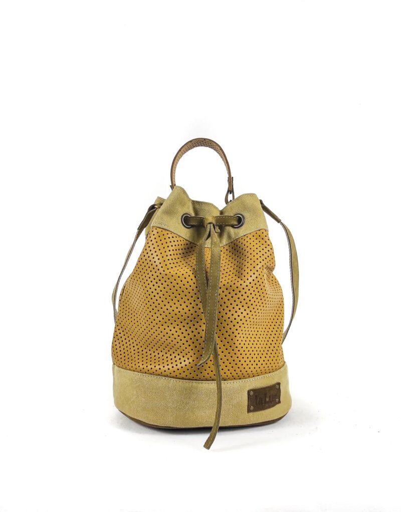 Amano – borsa a tracolla in pelle traforata modello Bucket 03-151653
