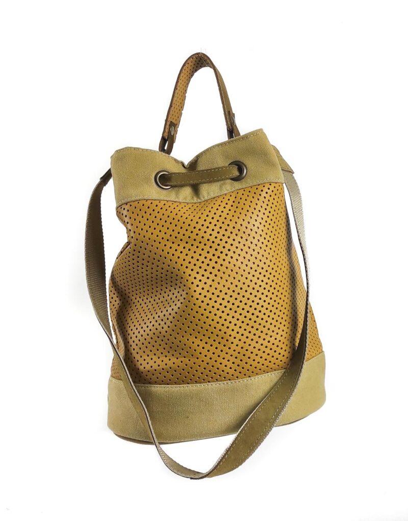 Amano – borsa a tracolla in pelle traforata modello Bucket 03-162350