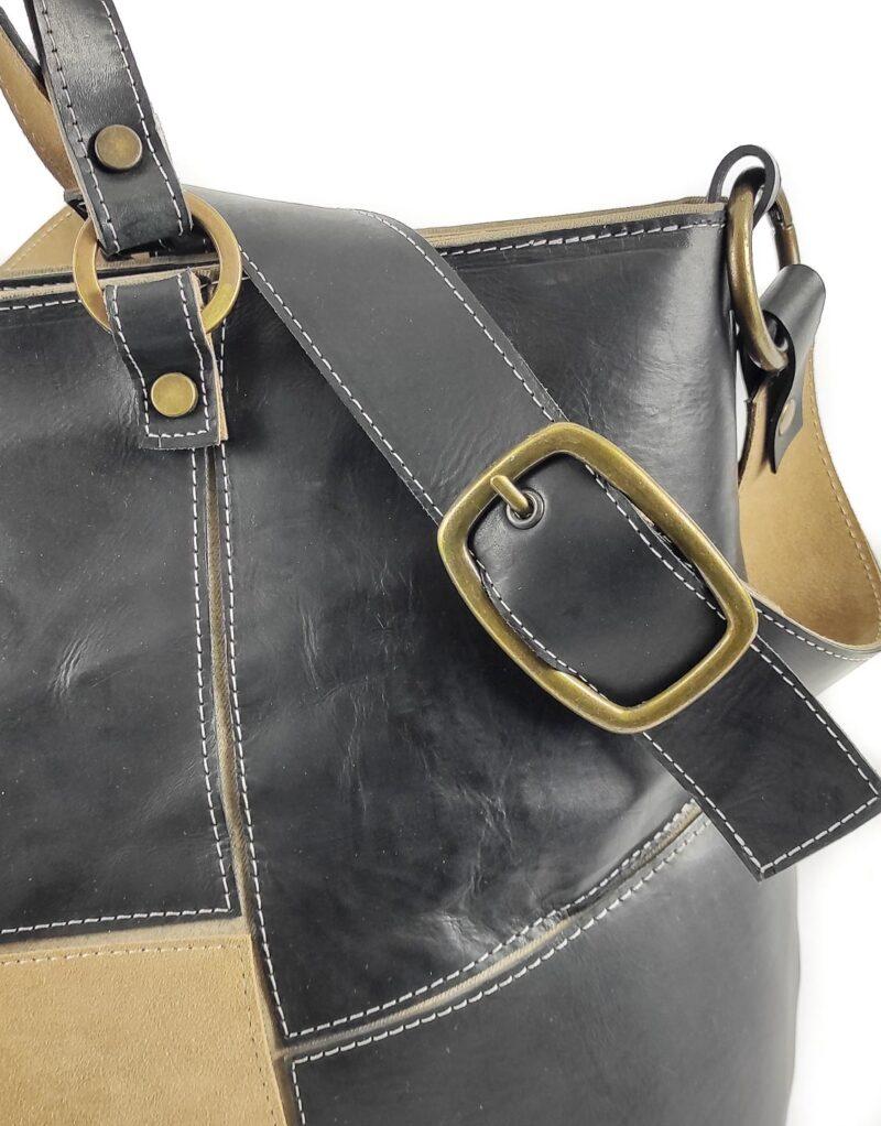 Amano - borsa in pelle nera Poppins