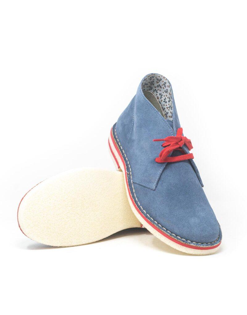 Wally Walker - desert boot in pelle scamosciata Chukka Color Avio