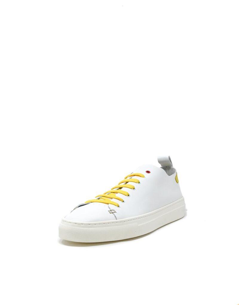 sneaker Piuma in pelle bianca e inserti giallo limone -5521
