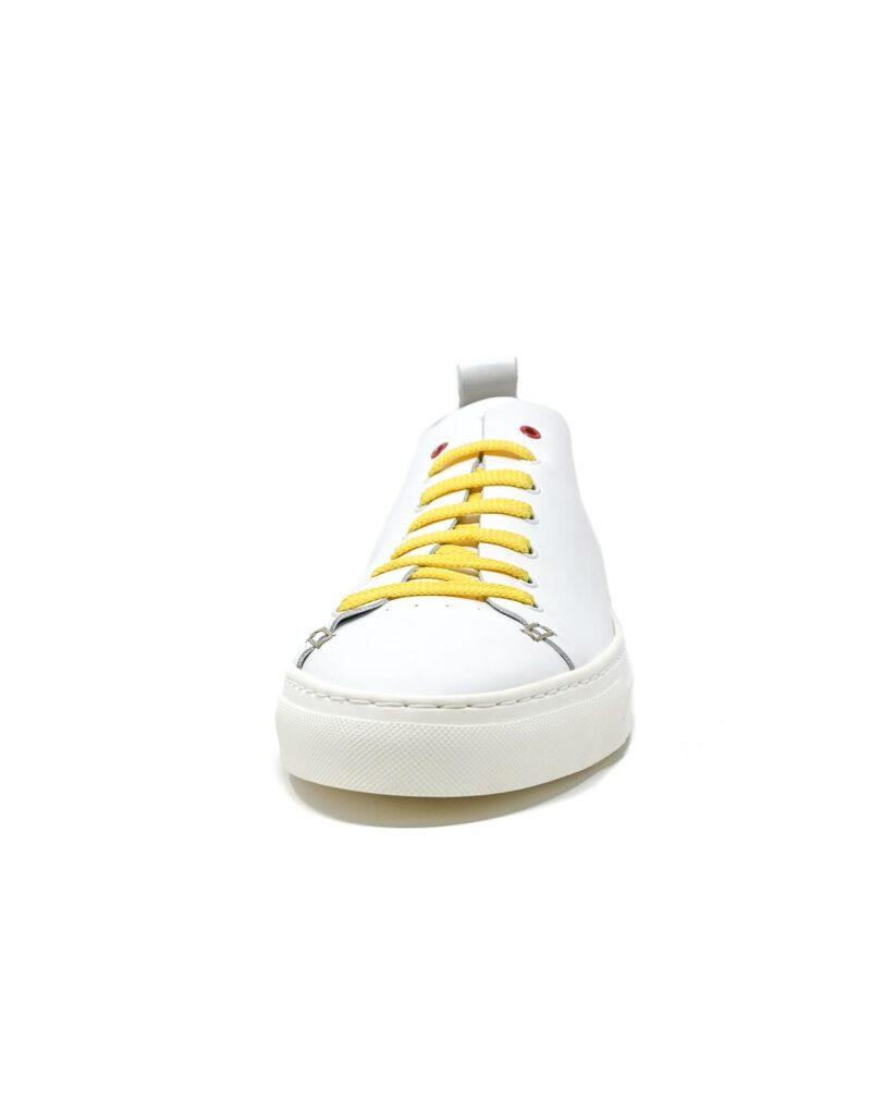 sneaker Piuma in pelle bianca e inserti giallo limone -5522