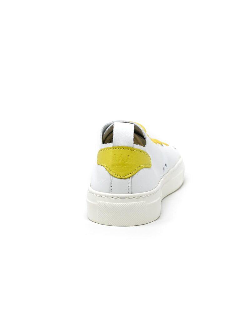 sneaker Piuma in pelle bianca e inserti giallo limone -5523