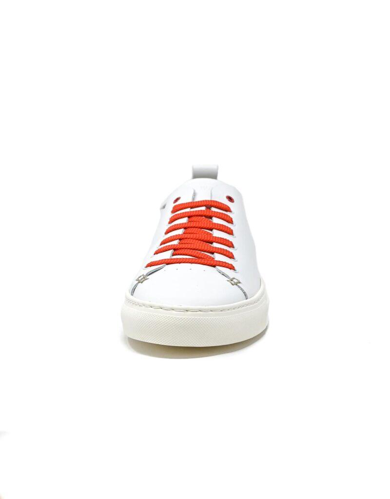 sneaker Piuma in pelle bianca e inserti rossi-5537