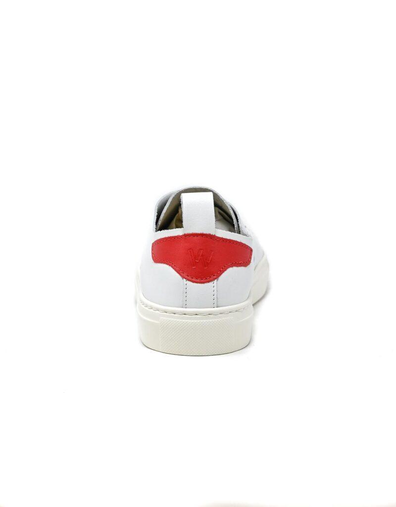 sneaker Piuma in pelle bianca e inserti rossi-5538
