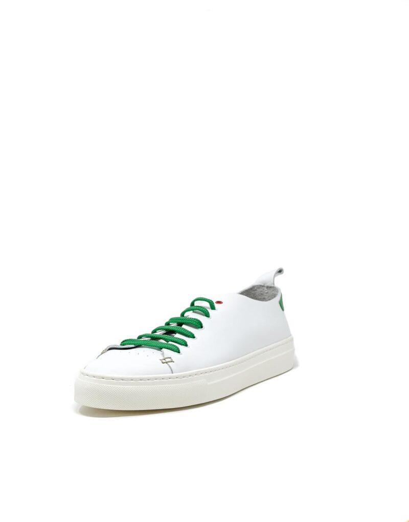 sneaker Piuma in pelle bianca e inserti verdi-5531