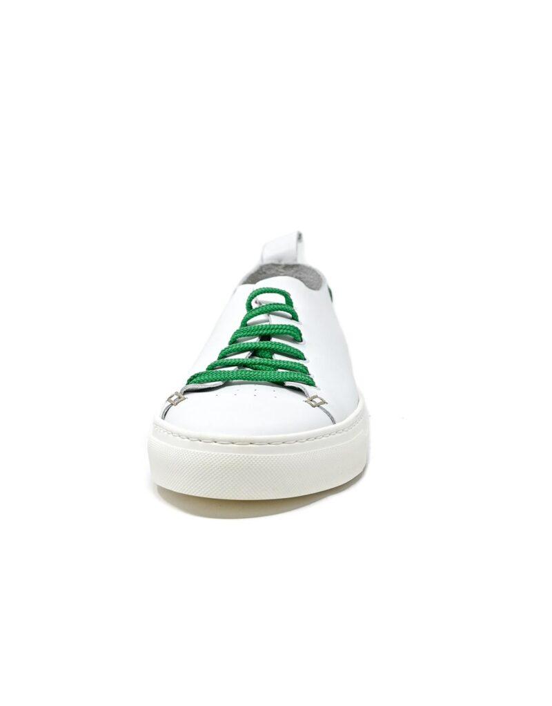 sneaker Piuma in pelle bianca e inserti verdi-5532