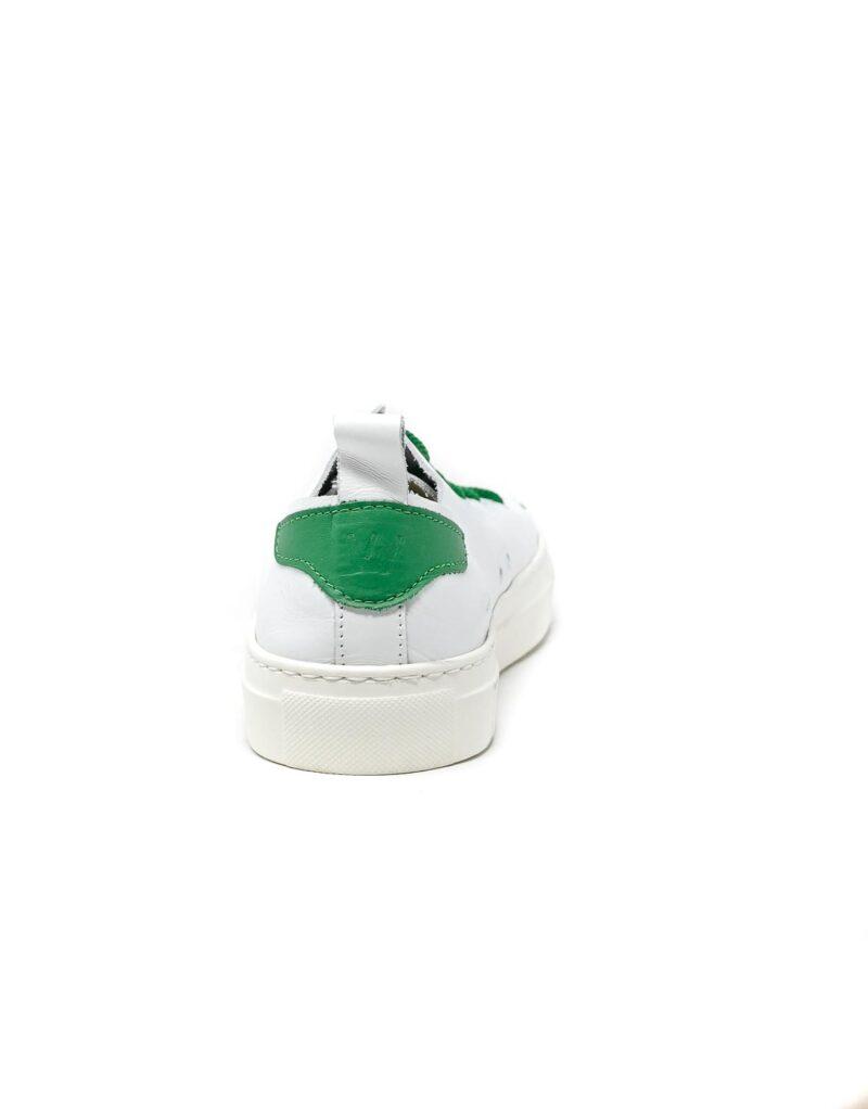 sneaker Piuma in pelle bianca e inserti verdi-5533