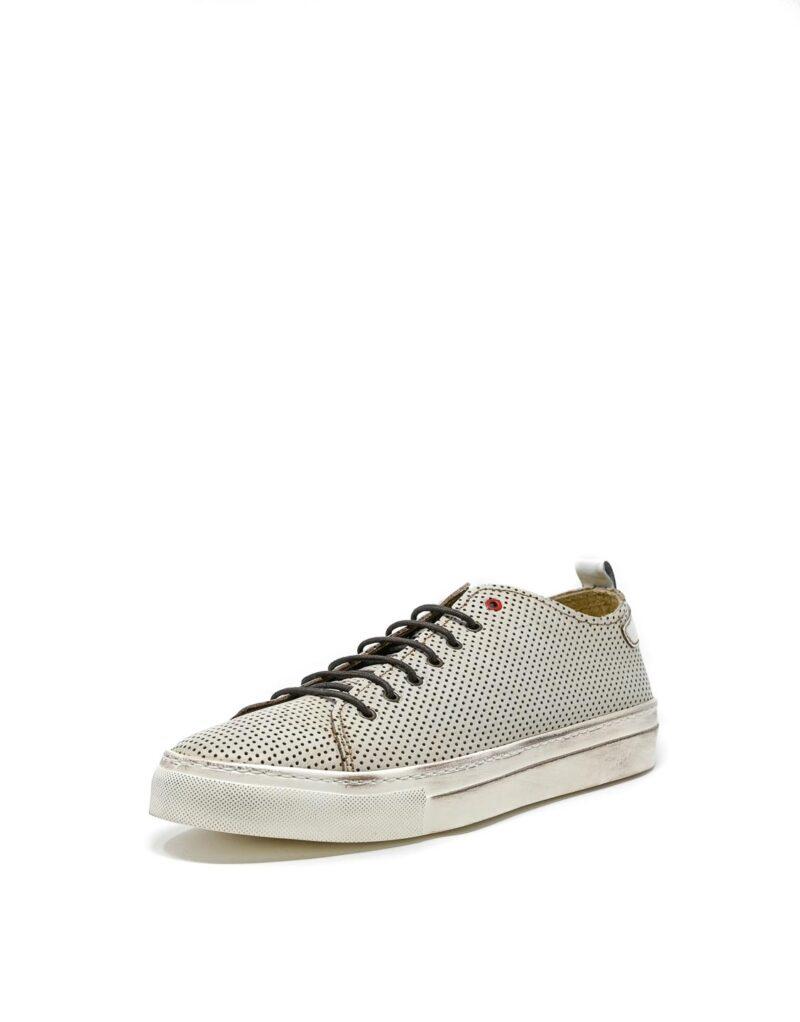 sneaker Prima in pelle traforata bianca-5501