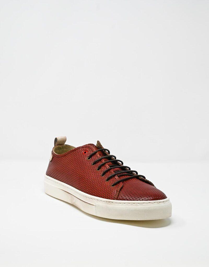 sneaker uomo in pelle traforata Prima rosso – Wally Walker -4411